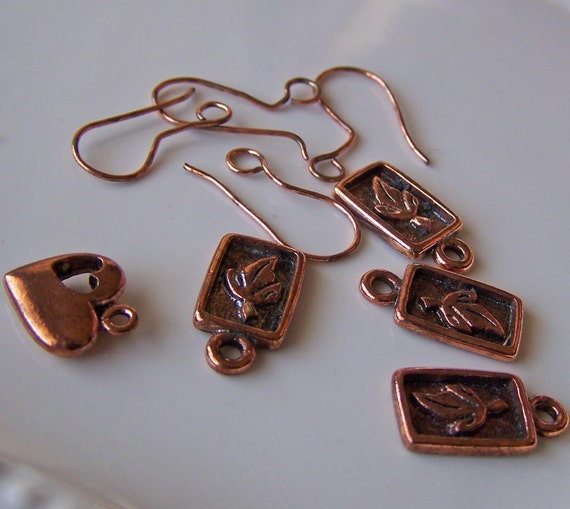 Etsy, Copper Findings, Copper Jewelry Pieces, Copper Charms, Copper Heart, Leaf Heart, Etsy Beads, Etsy Supplies