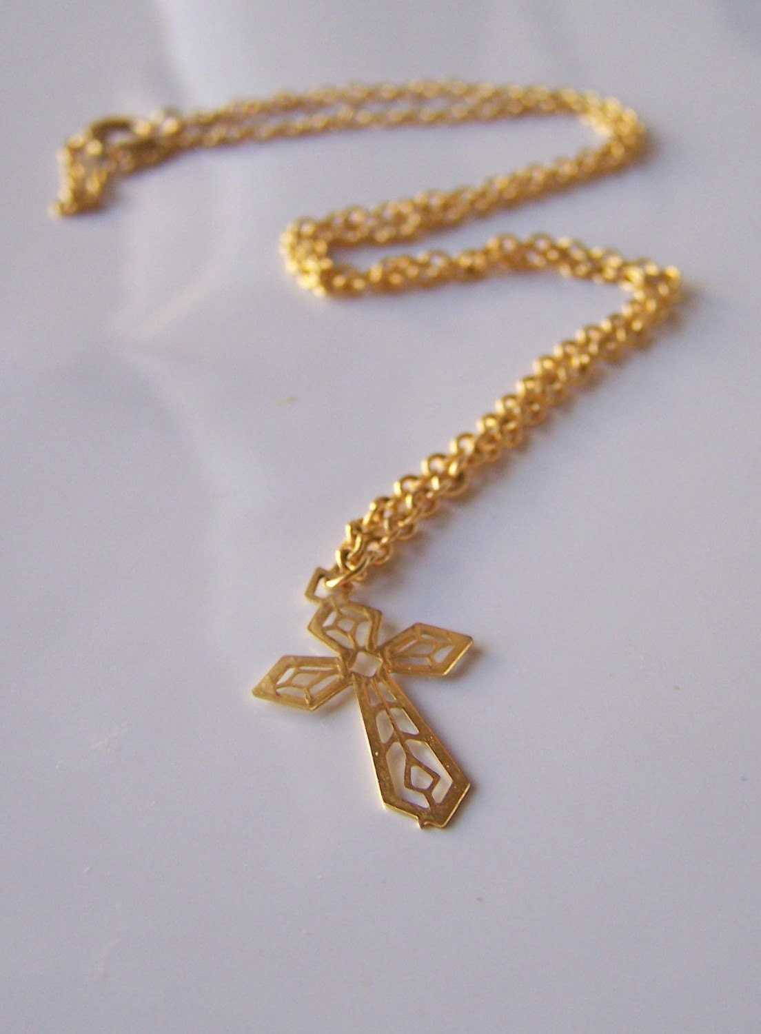 Etsy reduced cross necklace filigree gold cross by alysbeads for Vintage sites like etsy