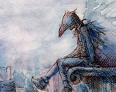ACEO raven mask fantasy art print - City and Crow