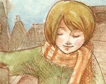 ACEO Victorian fantasy art print, girl & monster - Ilse and the Chimney Golem