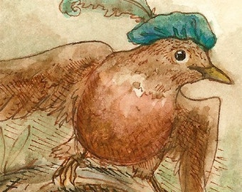 The Robber Robin - ACEO fantasy bird painting print