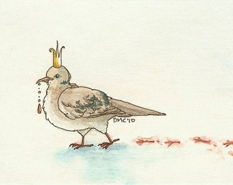 ACEO fantasy bird painting print - Dove Prince in the Snow - Limited