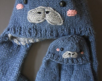 Manatee Hat Knitting Pattern - Cute Animal Earflap Beanie - Child and Adult Sizes