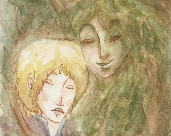 ACEO fantasy painting print - The Dryad and the King's Son - Limited