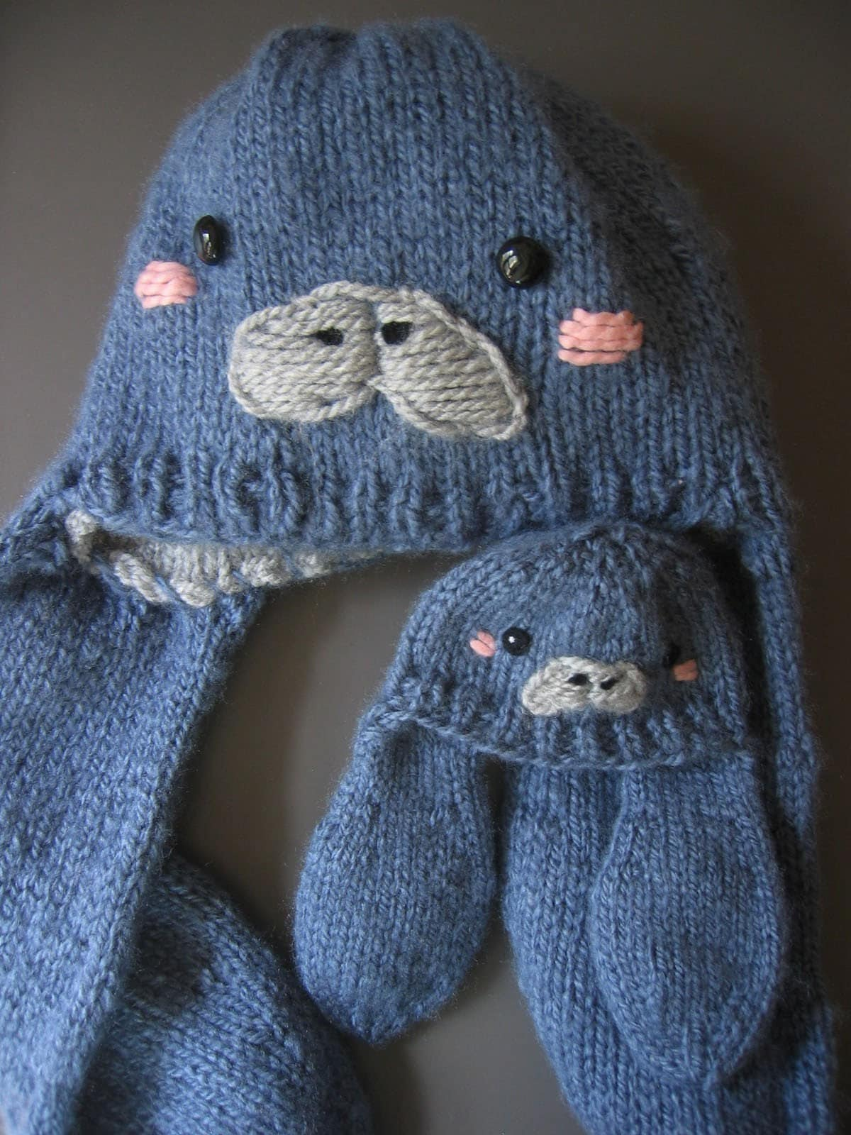 Animal Hat Knitting Patterns : Manatee Hat Knitting Pattern Cute Animal Earflap Beanie