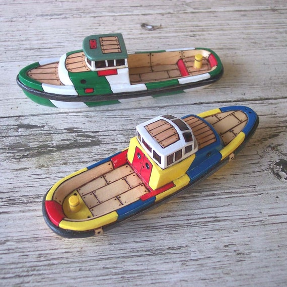 Two Wooden Toy Boats