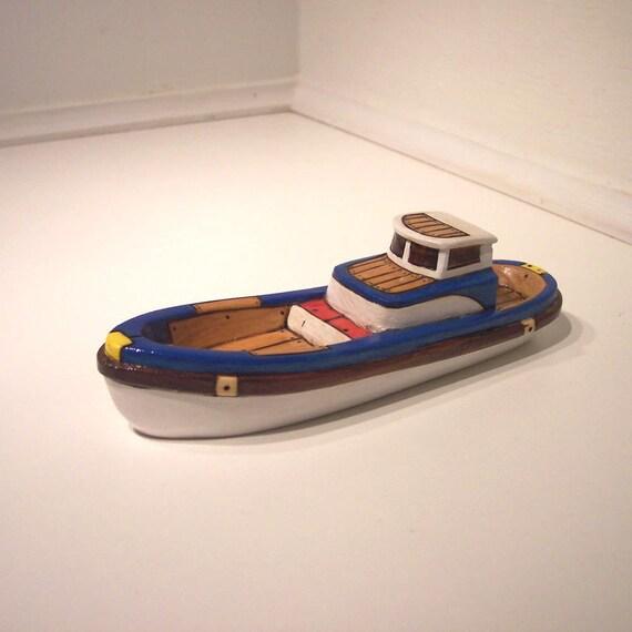 Blue White Cedar Wooden Toy Boat