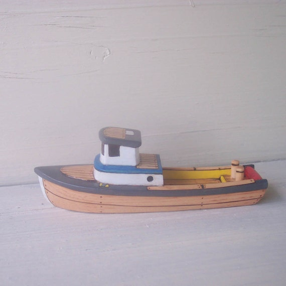 Gray White Blue Tow-Bit Toy  Wooden  Boat