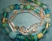 Teal and green glass with all sterling silver beaded necklace