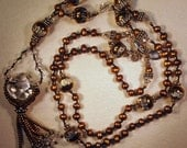 Hand knotted bronze fresh water pearls, Bali sterling silver and glass beaded necklace