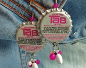 Pink Tab - Bottlecap Earrings- ready to ship