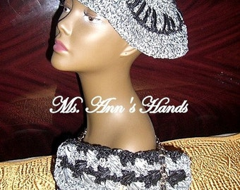 Black/Silver Beret and Purse
