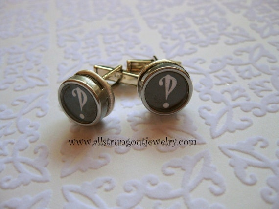 Sterling  Silver Antique Typewriter Key  Cuff Links - Interrobang