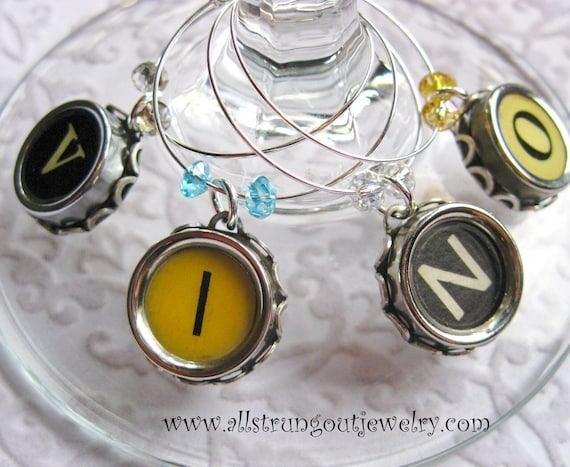 VINO Authentic Vintage Typewriter Key Wine Glass Charms