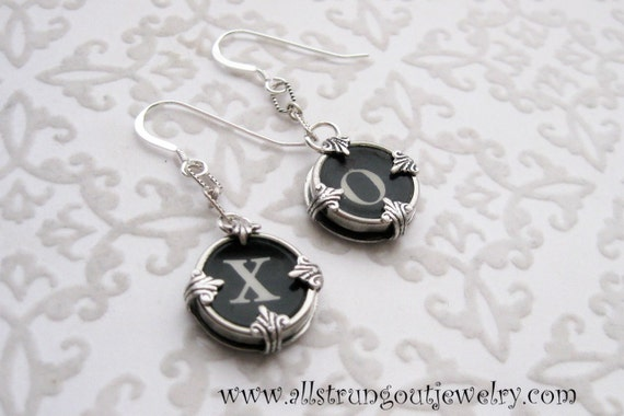Antique Typewriter Key Earrings - Your Choice of Keys -  sterling silver