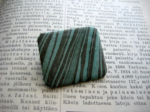 Paper brooch - turquoise and gray