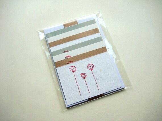 Set of 8 gocco printed mini cards
