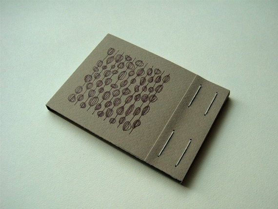 Olive gray - Gocco printed matchbook style notebook
