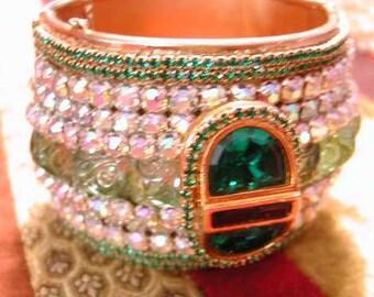 ART DECO Inspired Swarovski Hand Crystallized HUGE Hinged Bangle Bracelet