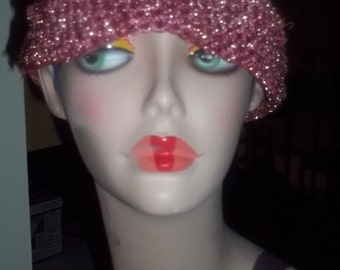 Pretty in PINK Vintage Hand Crocheted Stretch Sequin Hat