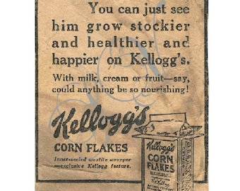 Antique Newspaper Print Advertisement Digital Image Kelloggs Cereal