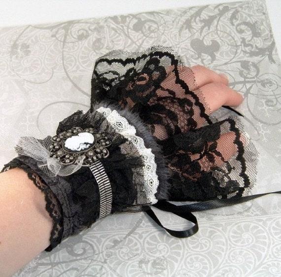 Steampunk Cuffs Cream Lace Black Floral Fabric Victorian Cameo Pair