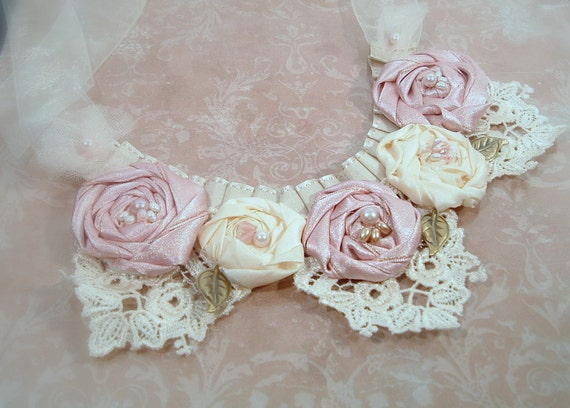 Romantic Shabby Chic Statement Necklace in Rose and Cream with Venice Lace