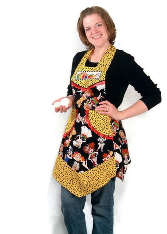 Sew Girls Womens Full Apron Yellow and Black Fabric with Polka Dots