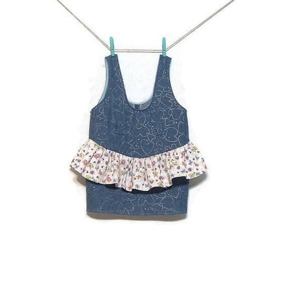 Girls Denim Jumper Dress Cotton Print Ruffle Girls size 5