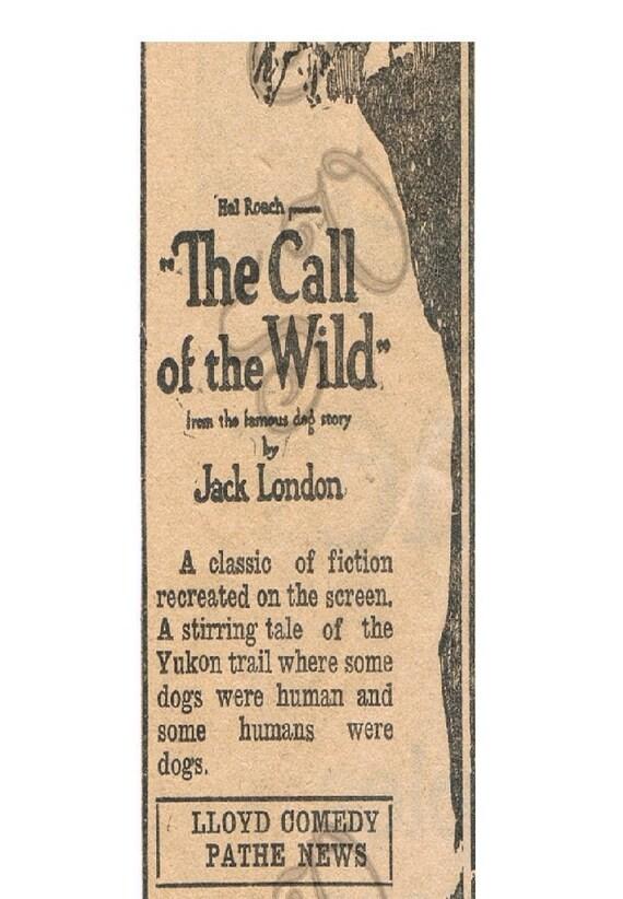 Antique Newspaper Print Advertisement Digital Image Call of the Wild Film Ad