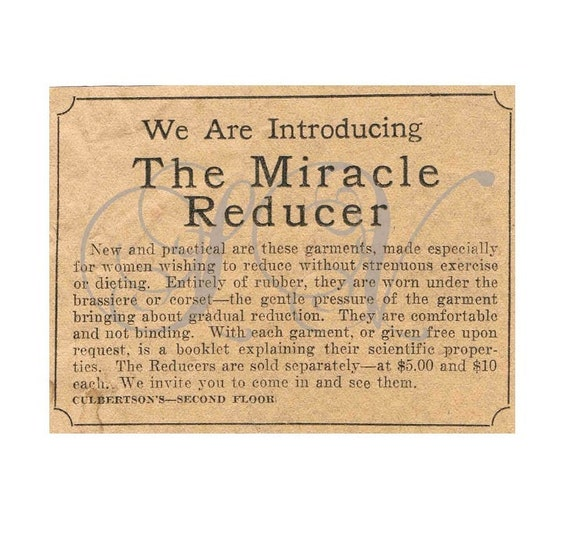 Miracle Reducer Antique Advertisement 1920s Newsprint Scrapbooking Shabby Chic Crafting Digital Image