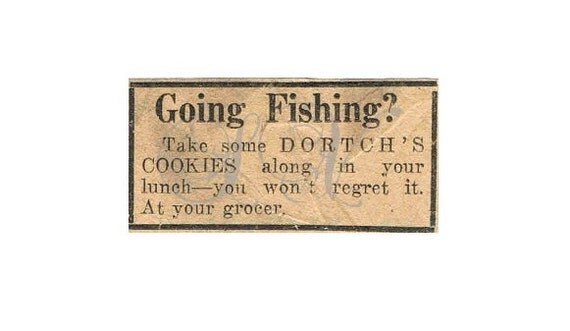 Antique Newspaper Print Advertisement Digital Image Going Fishing Scrapbooking Shabby Chic