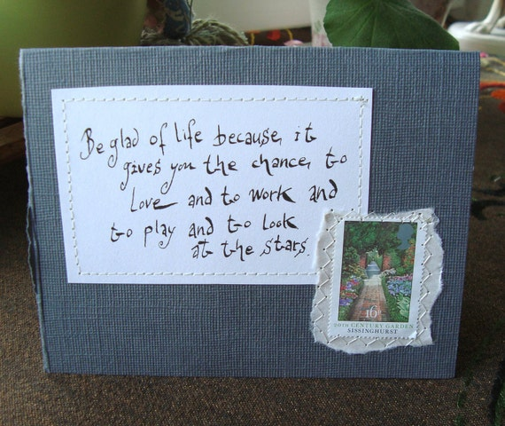 Be glad of life Card with written quote and postal stamp Dark grey
