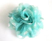 1 No-Slip, Light Blue with Polka Dots Silk Flower with Mesh Hair Clippie