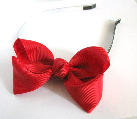 Christmas Red Bow -  Solid Red Bow on Black Satin Lined Skinny Metal Headband - Toddler - Girl - Adult - Photo prop