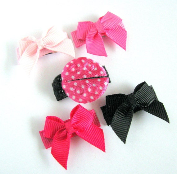 5 No-Slip, Hot Pink Ladybug Baby Snap Clip with coordinating Ally Bows