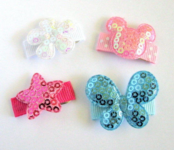 Baby Hair Clips - Baby Hair Bows - 4 No-Slip, Sequin pinks, white and blue embellished Baby Snap Clip Set