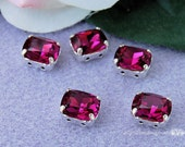 Fuchsia Fancy Octagon GF Sew On Swarovski Crystal 10x8mm 4570 With Prong Setting Crystal Sew On Craft Supplies Jewelry Making