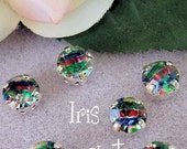 Vintage Fun and Funky 40ss Iris 1102 Swarovski Crystal With Sew On Prong Setting Craft Supplies Jewelry Making