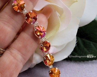 Swarovski Summer Blush Rivoli Tennis Style Link Bracelet in SS and SP