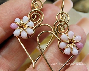Charming Hearts Earrings in 14k GF Wire with Tiny Pink Glass Flowers