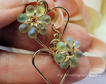 Charming Hearts Earrings in 14k GF Wire with Spring Green AB Glass Flowers