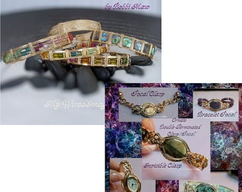 How To Wire Wrap Bracelets, 2 Bracelet Tutorials Discount, Swarovski Crystal and Ornate Focal/Clasp, 20% Discount,  Instant Download PDF
