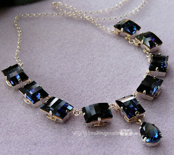 Wire Wrapped Vintage Reproduction Necklace in Swarovski Crystal Montana, Sterling and Fine Silver