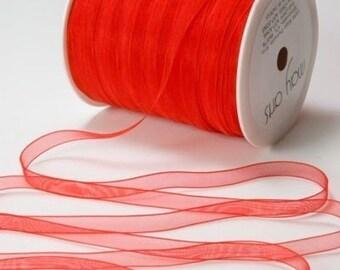 Red Sheer Ribbon- Red Ribbon - May Arts Sheer Red Ribbon 3 yards