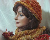 Gold and cinnamon hand knit scarf and rolled brim cap - AccessoriesByKelli