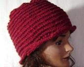 Hand knit hat wool cloche beanie dark red heather