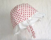 Sun hat childs red dots on white ages 3-9 cotton fully lined and reversable - AccessoriesByKelli