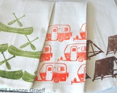 Camp Tea Towel Series, Camper, Canoe, Tent , Hand printed
