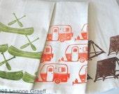Camp Tea Towel Series, Camper, Canoe, or Tent , Hand printed